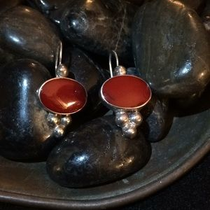 Jewelry - Sterling Silver and Carnelian Vntg. Earrings